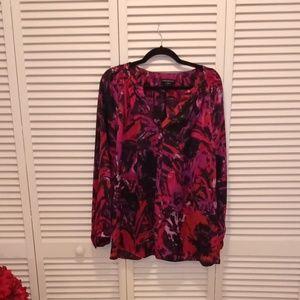 Lane Bryant silky pink print blouse.